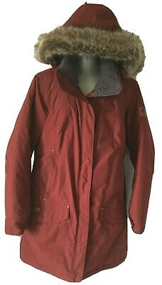 Columbia Women Down Jacket Omni Heat Terracotta Long Hooded Fir Zip Up Size L