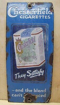 Orig c1920s Antique Chesterfield Cigarettes Porcelain Door Push Adv Sign
