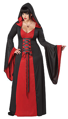 Deluxe Hooded Robe Gothic Vampire Adult Plus Size Costume Red
