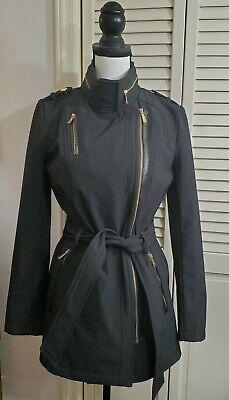 Michael Kors Coat Jacket Peacoat Black & Gold Hooded Belted Women's Sz XS