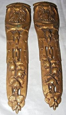 2 ANTIQUE FRENCH ORMOLU GILT BRONZE FURNITURE PEDIMENT FITTING FLOWERS FRUIT