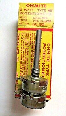 Vintage Ohmite Usa Dual Potentiometer Ccu 1052 Type Ab U Linear 1.01.0 Megohms