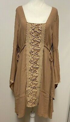 Free People Womens L Jolene Dress Bell Sleeves Lace Panel Back Cut Out Side -