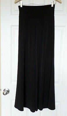 Clara Sun Woo black wide leg stretch knit pants Sz -