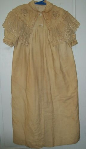 "Victorian Child Long Christening Overcoat for Dress Embroidered Lace 36"" Long"