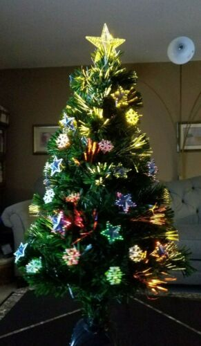 "Christmas: ROTATING 36"" FIBER OPTIC Lighted Tree Lights Complete MANY COLORS NEW"