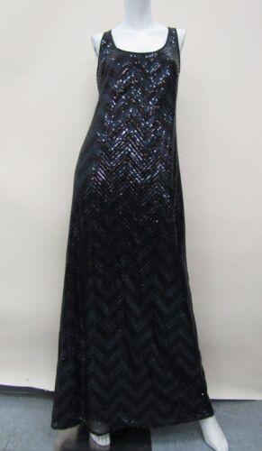 Trina Turk Women's Black/Navy Blue Sequined Zig Zag Sleeveless Dress Size 6