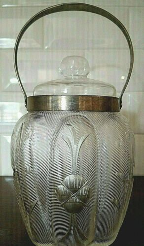 Antique Glass Biscuit Jar Etched Late 1800