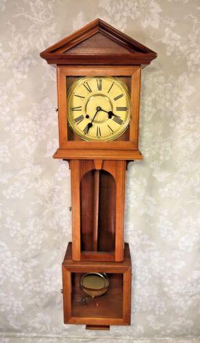 Vintage Langtertein Wall Clock Korea Nice Wood Case Runs Strikes