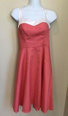 Retro DRESS TELLS 1950s Style Size XS Cotton Coral & White Satin Sun Dress ()