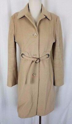 (Via Spiga Belted Wool Cashmere Maxi Long Coat Peacoat Womens 6 Tan Khaki Camel)