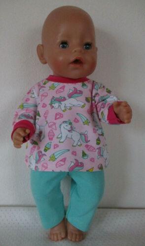 Puppenkleidung Set 2-teil. f. Puppen 40-45 cm (z.B, Babyborn) Langarmshirt, Hose