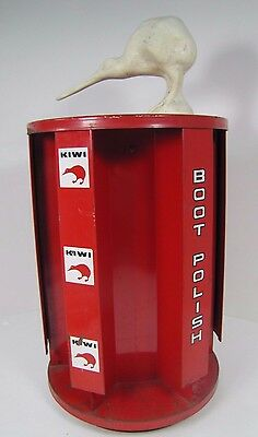 Orig 1950s KIWI Boot Polish Metal Shoe Store Display Spinner with Bird Topper Ad