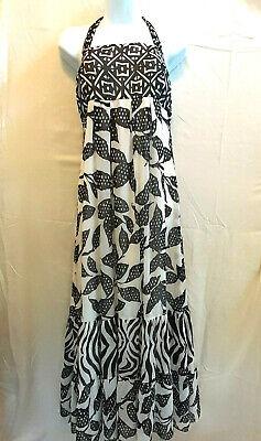 White House Black Market Women's Size 14 Maxi Dress Sleeveless B/W Empire Waist