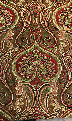 Damask Jaclyn Ruby Red Chenille Upholstery Sofa fabric by the yard ()