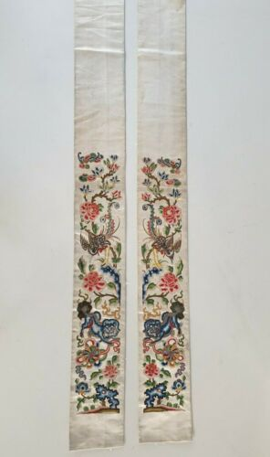PAIR ANTIQUE CHINESE QING SILK EMBROIDERY ROBE FORBIDDEN STITCH SLEEVES 19TH C