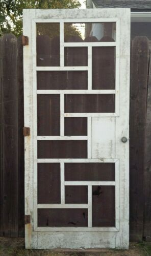1950s Mid Century Cubist White Farmhouse Wood Screen Door Original Hardware