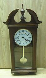 Hampton Pendulum Wall Clock, Wood with Cherry Finish