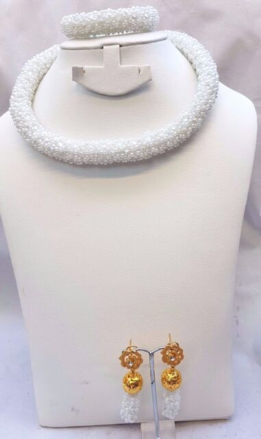 White 1 layers African Beads Bridal Necklace Earring bracelet Jewellery Set