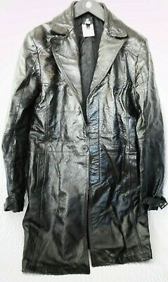 Versace Jeans Couture Men's Black Distressed Leather Coat Size 38/52