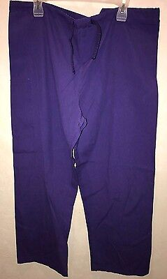 mens or womens SOLID PURPLE SCRUBS PANTS size large UNIFORM MEDICAL CLEAN pull