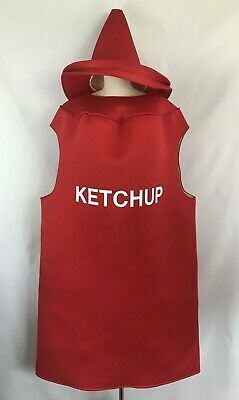 Adult Ketchup Costume (Ketchup Bottle Costume Adult One Size Red Outfit & Hat Halloween Dress Up)