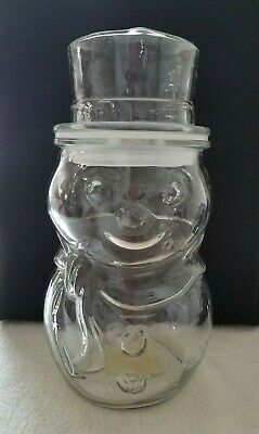 Vintage Libbey Christmas Snowman Shaped Clear Glass Candy/Cookie Jar Canister