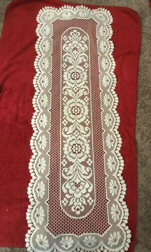 """Heritage Lace ?? Runner white  Flower Table Dresser Scarf  50"""" x 17"""""""
