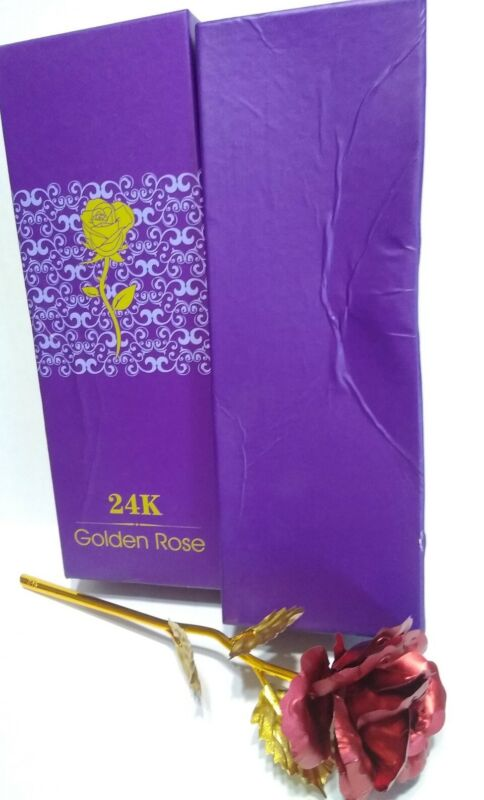 """24K Red Rose Gold Stem and Leaves 9 1/2"""" long with Gift Box"""