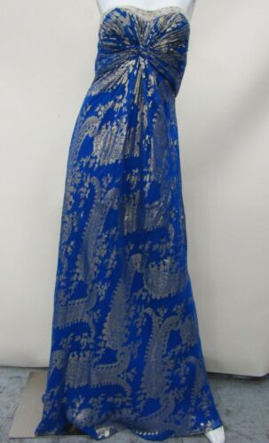 Aidan Mattox Women's Blue/Gold Paisley Strapless Evening Dress Size 8