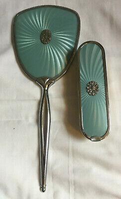 VINTAGE Dressing Table Vanity Set Blue Rhinestone Trim Cloth Brush Hand Mirror