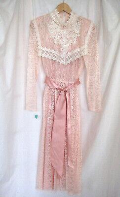 Vintage New NWT Nordstroms 70s/80s Pink Lace Midi Dress Steampunk Sz 9/10 USA