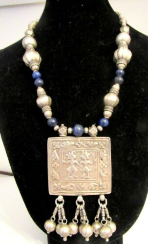 Antique India Amulet Himachal Pradesh Tribal Silver Bead+Lapis Lazuli Necklace