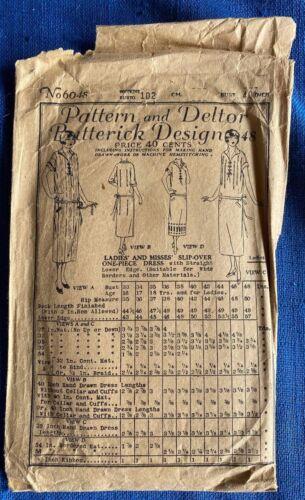 1920s Orig Butterick 6048 Sewing Pattern Women Flapper Dress Complete