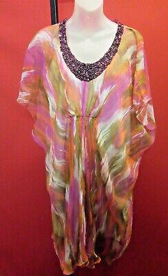 Rainbow Caftan - LA FETE'PARIS 100% Silk Volcanic Rainbow Caftan Dress Sz 36 L Ruby Jeweled neck