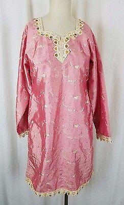 Asiatische Kleidung (Vintage Asiatisch Indien Bestickt Tunika Kleid Traditionell Kleidung Satin S M)