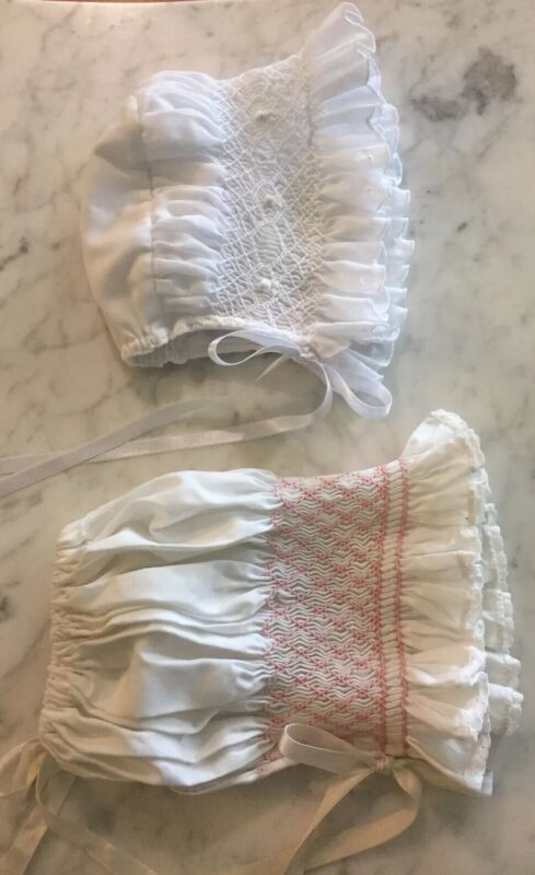 Lot Of 2 Vintage Baby Bonnet White With Smocking Baby Girl Clothes