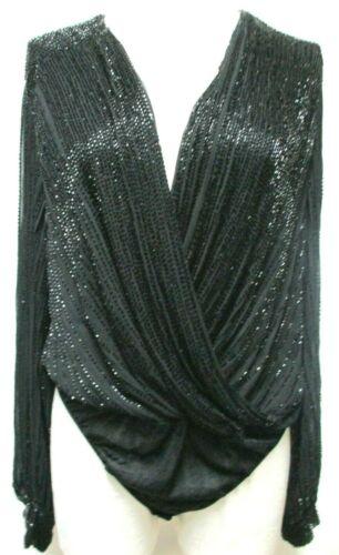 Vintage beaded draped low V-neck Bodysuit Blouse Top black Size Sz Medium Md M