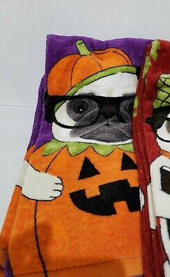 Halloween Pug Dog Kitchen Towel Decor Set of 2 (Halloween Pugs)