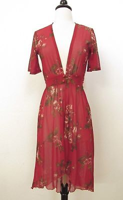(Anthropologie Kimono Top Duster New Floral Mesh Boho Red Size Small Flowy Spring)