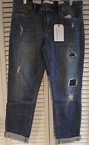 NWT Womens Eunina Jeans Sasha Distressed Low Rise Skinny Crop Size 15 READ