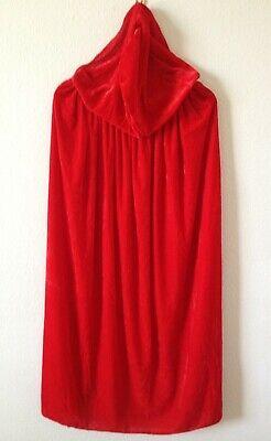 VG LOOK Hooded Cloak Long 39'' Velvet Cape Cosplay Costume ](Red Velvet Cape)