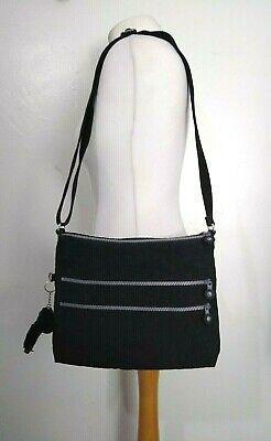 "KIPLING ""Alvar"" BLACK Medium Size Double Zip CROSS BODY Messenger BAG With APE"