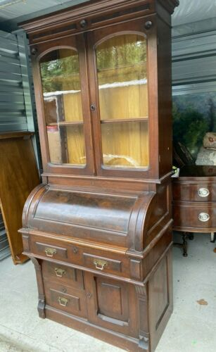 ANTIQUE VICTORIAN BURL WALNUT CYLINDER ROLL SECRETARY DESK