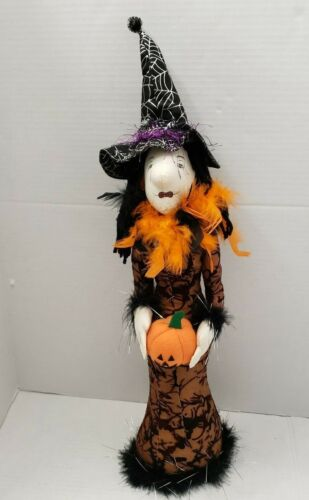 """Tall Folk Art Witch Figure Boa Feather Hat Pumkin Scarecrow Lace 26"""""""