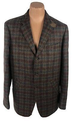 Robert Talbott Men's XL Sport Coat / Blazer Wool Blend Plaid Red Multicolor E03 Blend Mens Sport Coat