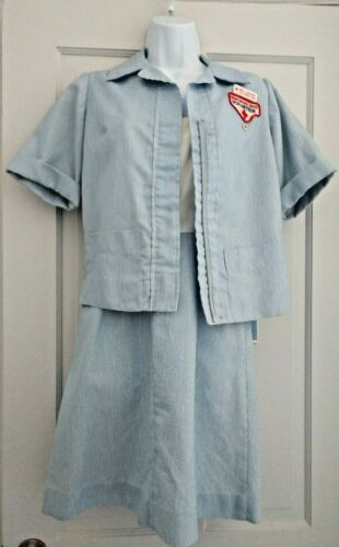 VINTAGE Red Cross Volunteer Uniform Dress with Blouse Cap Patch Pins Size 10S