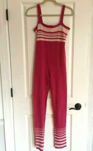 Sansha Stiles Footless Sweater Knit Ballet Unitard Warm Up Pink Stripes Size 4