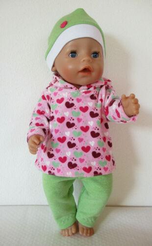 Puppenkleidung 3 teil. Set f. Puppen 40-45 cm, z.B. Babyborn, Kapuzenshirt, Herz