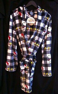 Peanuts Christmas Hooded Bath Robe Snoopy Woodstock Santa Hat Plaid Adult L/XL ()